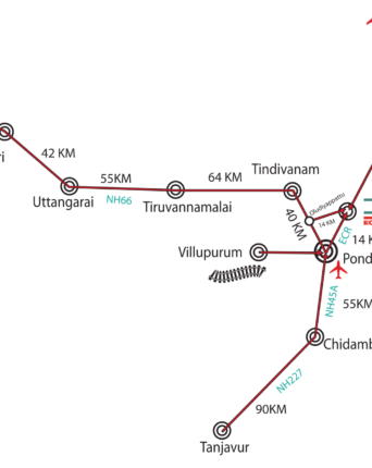 this image represents a map showing how to com by rail, air and road to the Dune healing center and Spa hotel near Puduchery