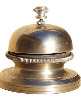 The bell at the reception desk of the hotel is the symbol of our availability at your service