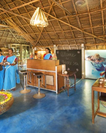 Staff Welcoming guests at Paradise Spa at the dune healing center and spa near Puduchery in India