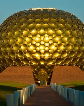 The Matrimandir is a building in the center of Auroville, India, considered the soul of the place by Mother.