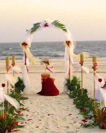 Wedding ceremony at Dune Eco Village and Spa private beach near Puducherrry