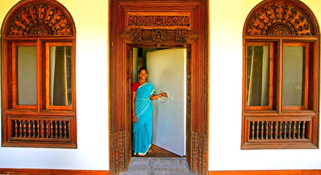 Dune Eco Village staff is welcoming guest at the Karaikudi Suite