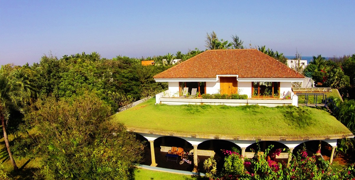 aerial vue of Artiste Penthouse at Dune Eco Village and Spa near Pudicherry