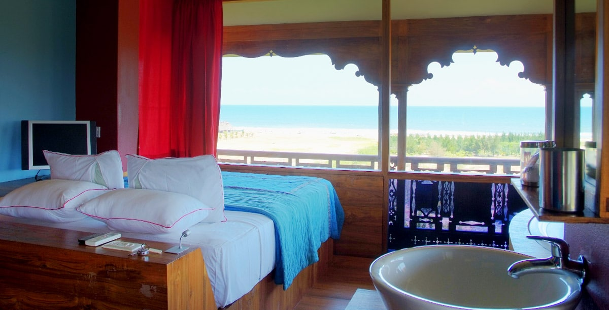 Tower Suite bedroom at Dune Eco Village and Spa