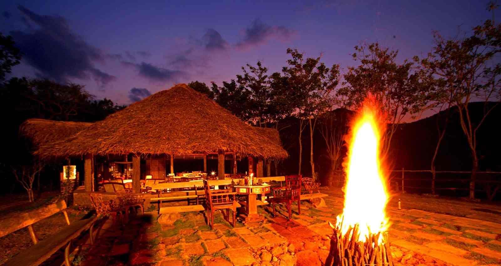 Bonfire at Elephant Valley Eco Farm Hotel restaurant